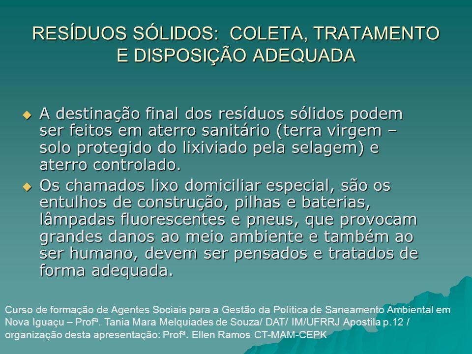RESÍDUOS SÓLIDOS: COLETA, TRATAMENTO E DISPOSIÇÃO ADEQUADA A destinação final dos resíduos sólidos podem ser feitos em aterro sanitário (terra virgem