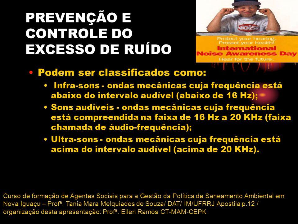 PREVENÇÃO E CONTROLE DO EXCESSO DE RUÍDO Podem ser classificados como: Infra-sons - ondas mecânicas cuja frequência está abaixo do intervalo audível (