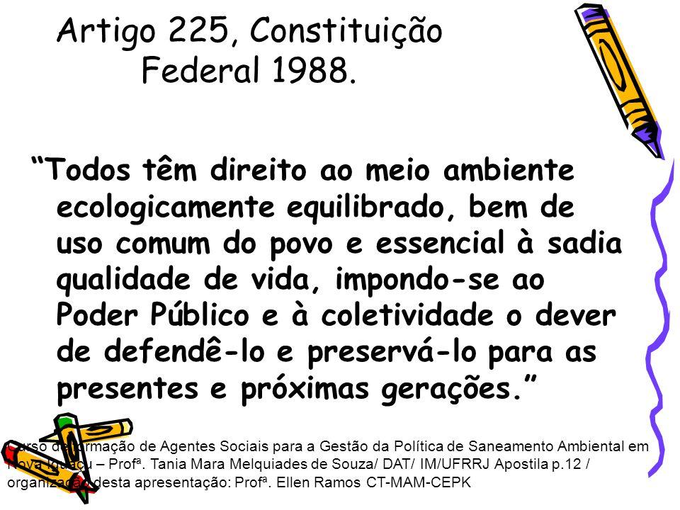 Artigo 225, Constituição Federal 1988. Todos têm direito ao meio ambiente ecologicamente equilibrado, bem de uso comum do povo e essencial à sadia qua