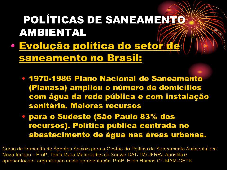 POLÍTICAS DE SANEAMENTO AMBIENTAL Evolução política do setor de saneamento no Brasil: 1970-1986 Plano Nacional de Saneamento (Planasa) ampliou o númer