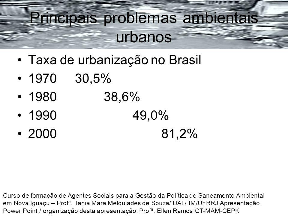 Principais problemas ambientais urbanos Taxa de urbanização no Brasil 197030,5% 198038,6% 199049,0% 2000 81,2% Curso de formação de Agentes Sociais pa