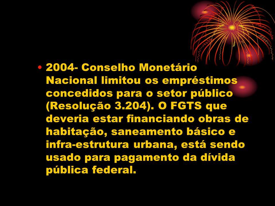 2004- Conselho Monetário Nacional limitou os empréstimos concedidos para o setor público (Resolução 3.204). O FGTS que deveria estar financiando obras