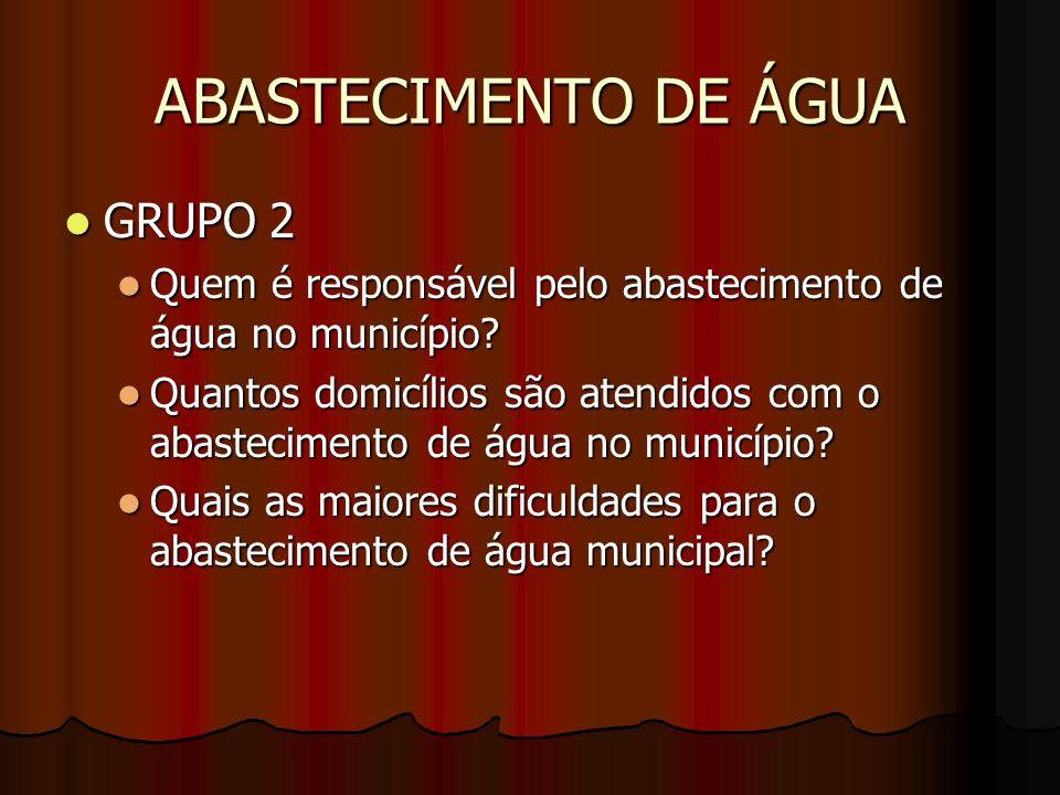 ABASTECIMENTO DE ÁGUA GRUPO 2 GRUPO 2 Quem é responsável pelo abastecimento de água no município? Quem é responsável pelo abastecimento de água no mun