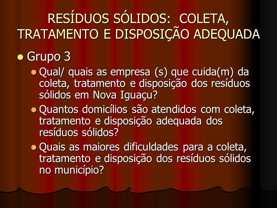 RESÍDUOS SÓLIDOS: COLETA, TRATAMENTO E DISPOSIÇÃO ADEQUADA Grupo 3 Grupo 3 Qual/ quais as empresa (s) que cuida(m) da coleta, tratamento e disposição