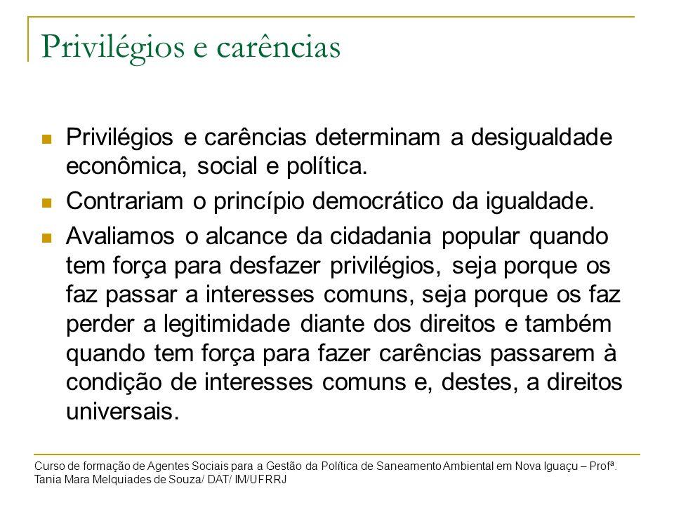Privilégios e carências Privilégios e carências determinam a desigualdade econômica, social e política. Contrariam o princípio democrático da igualdad
