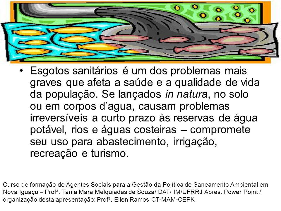 COLETA, TRATAMENTO E DISPOSIÇÃO ADEQUADA DE ESGOTO Curso de formação de Agentes Sociais para a Gestão da Política de Saneamento Ambiental em Nova Iguaçu – Profª.