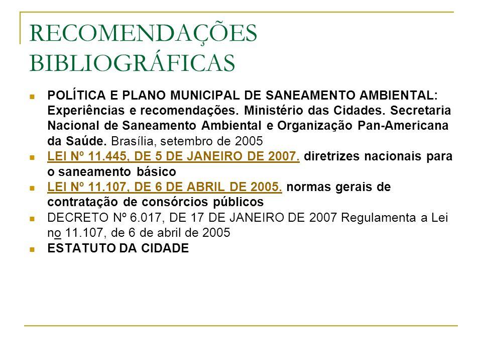 RECOMENDAÇÕES BIBLIOGRÁFICAS POLÍTICA E PLANO MUNICIPAL DE SANEAMENTO AMBIENTAL: Experiências e recomendações. Ministério das Cidades. Secretaria Naci