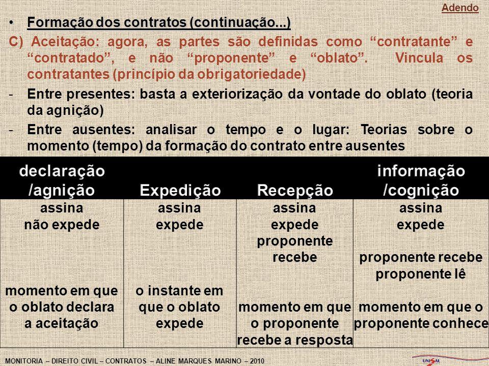 Formação dos contratos (continuação...)Formação dos contratos (continuação...) C) Aceitação: agora, as partes são definidas como contratante e contrat