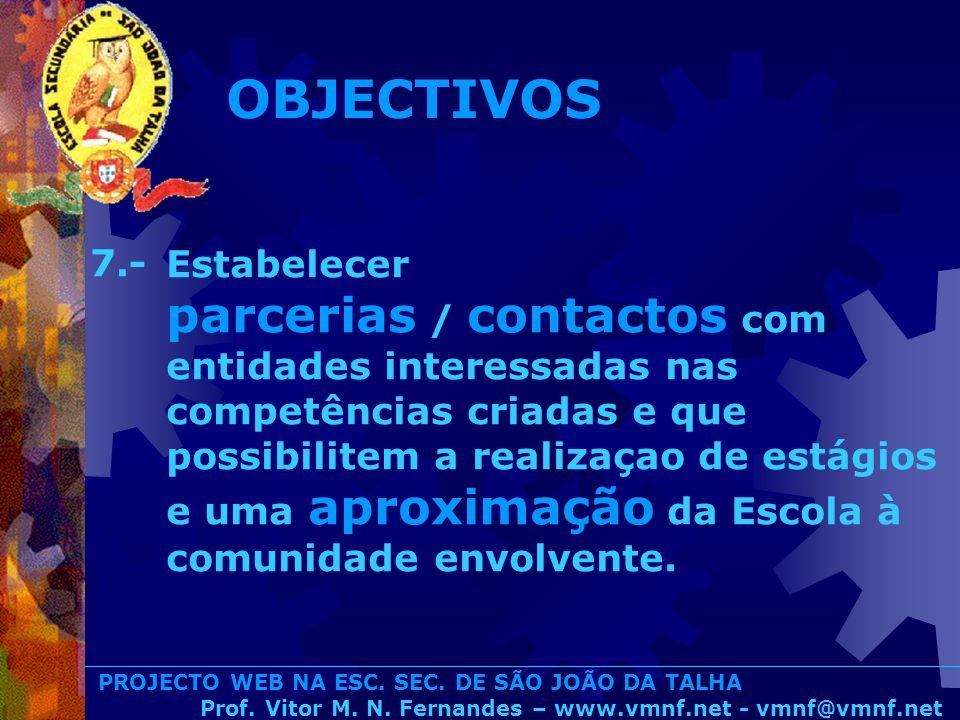 PROJECTO WEB NA ESC. SEC. DE SÃO JOÃO DA TALHA Prof. Vitor M. N. Fernandes – www.vmnf.net - vmnf@vmnf.net Estabelecer parcerias / contactos com entida