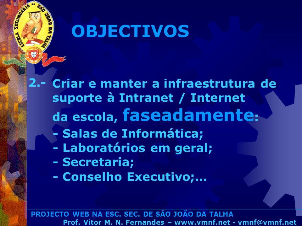 PROJECTO WEB NA ESC. SEC. DE SÃO JOÃO DA TALHA Prof. Vitor M. N. Fernandes – www.vmnf.net - vmnf@vmnf.net Criar e manter a infraestrutura de suporte à
