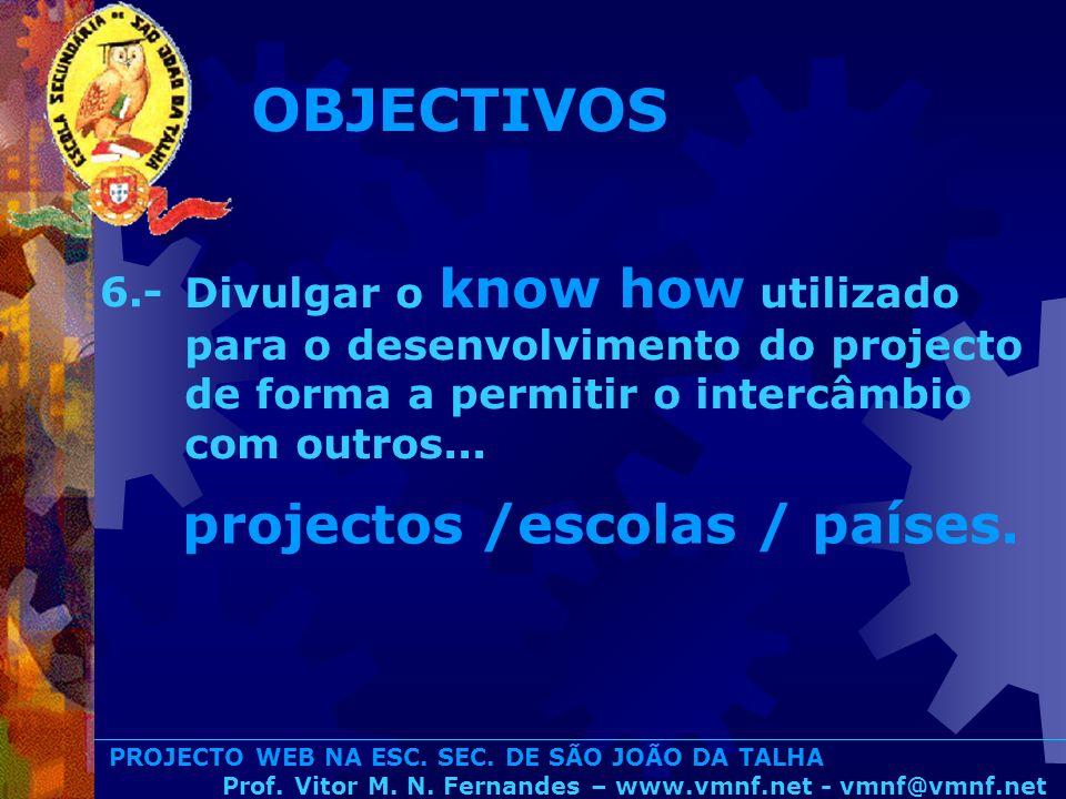 PROJECTO WEB NA ESC. SEC. DE SÃO JOÃO DA TALHA Prof. Vitor M. N. Fernandes – www.vmnf.net - vmnf@vmnf.net Divulgar o know how utilizado para o desenvo