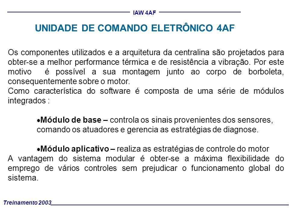 Treinamento 2003 IAW 4AF UNIDADE DE COMANDO ELETRÔNICO 4AF Os componentes utilizados e a arquitetura da centralina são projetados para obter-se a melh