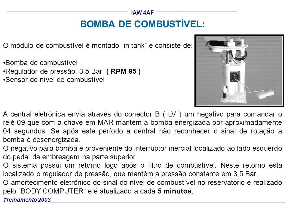 Treinamento 2003 IAW 4AF BOMBA DE COMBUSTÍVEL: O módulo de combustível é montado in tank e consiste de: Bomba de combustível Regulador de pressão: 3,5