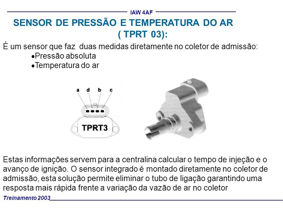 Treinamento 2003 IAW 4AF É um sensor que faz duas medidas diretamente no coletor de admissão: Pressão absoluta Temperatura do ar Estas informações ser