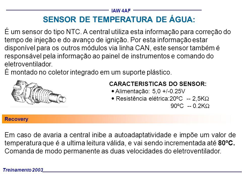 Treinamento 2003 IAW 4AF É um sensor do tipo NTC. A central utiliza esta informação para correção do tempo de injeção e do avanço de ignição. Por esta