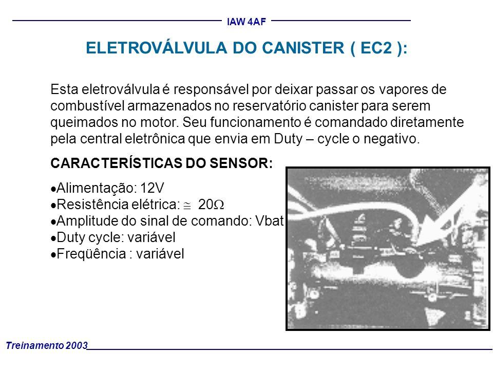 Treinamento 2003 IAW 4AF Esta eletroválvula é responsável por deixar passar os vapores de combustível armazenados no reservatório canister para serem