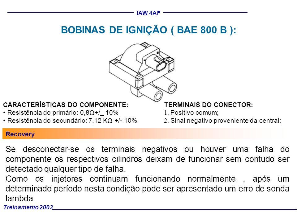 Treinamento 2003 IAW 4AF BOBINAS DE IGNIÇÃO ( BAE 800 B ): CARACTERÍSTICAS DO COMPONENTE: Resistência do primário: 0,8 +/_ 10% Resistência do secundár