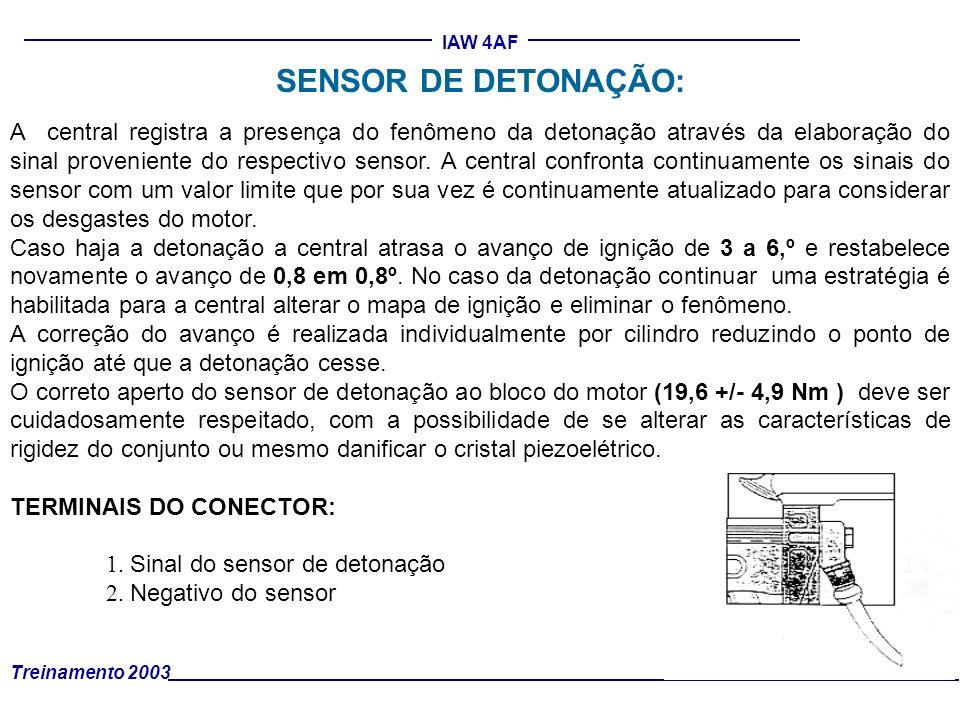 Treinamento 2003 IAW 4AF A central registra a presença do fenômeno da detonação através da elaboração do sinal proveniente do respectivo sensor. A cen