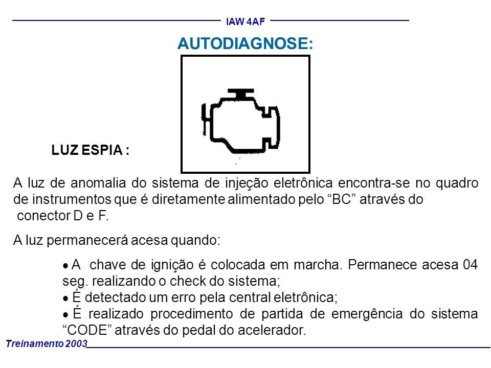 Treinamento 2003 IAW 4AF LUZ ESPIA : A luz de anomalia do sistema de injeção eletrônica encontra-se no quadro de instrumentos que é diretamente alimen