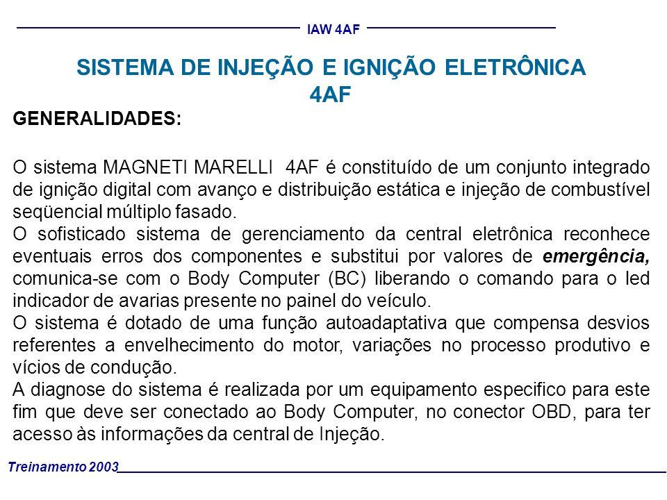 Treinamento 2003 IAW 4AF SISTEMA DE INJEÇÃO E IGNIÇÃO ELETRÔNICA 4AF GENERALIDADES: O sistema MAGNETI MARELLI 4AF é constituído de um conjunto integra
