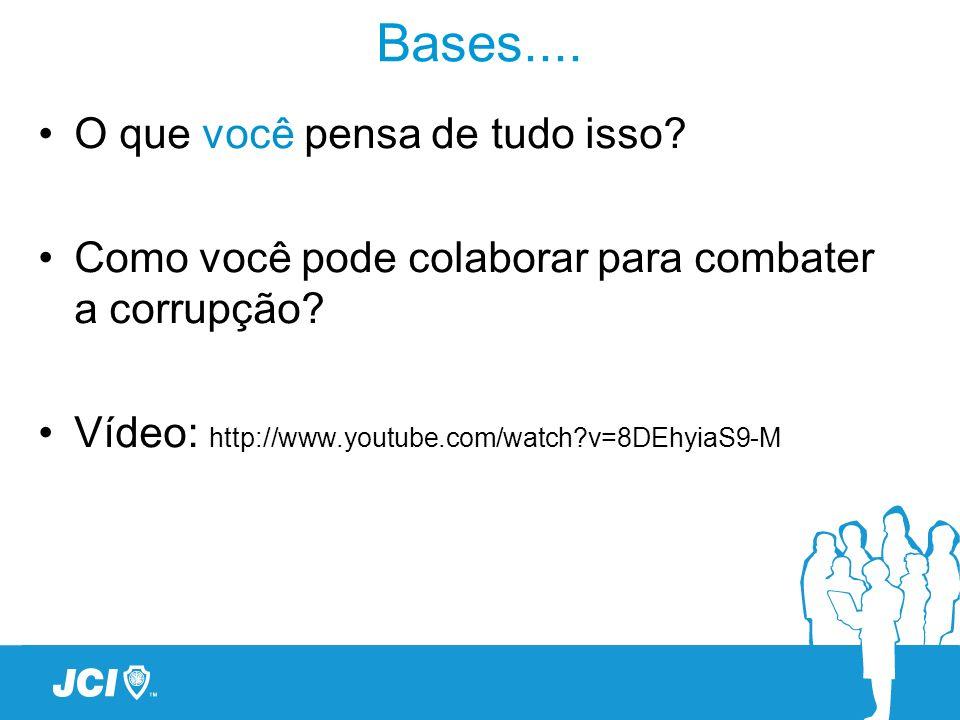 Bases.... O que você pensa de tudo isso? Como você pode colaborar para combater a corrupção? Vídeo: http://www.youtube.com/watch?v=8DEhyiaS9-M