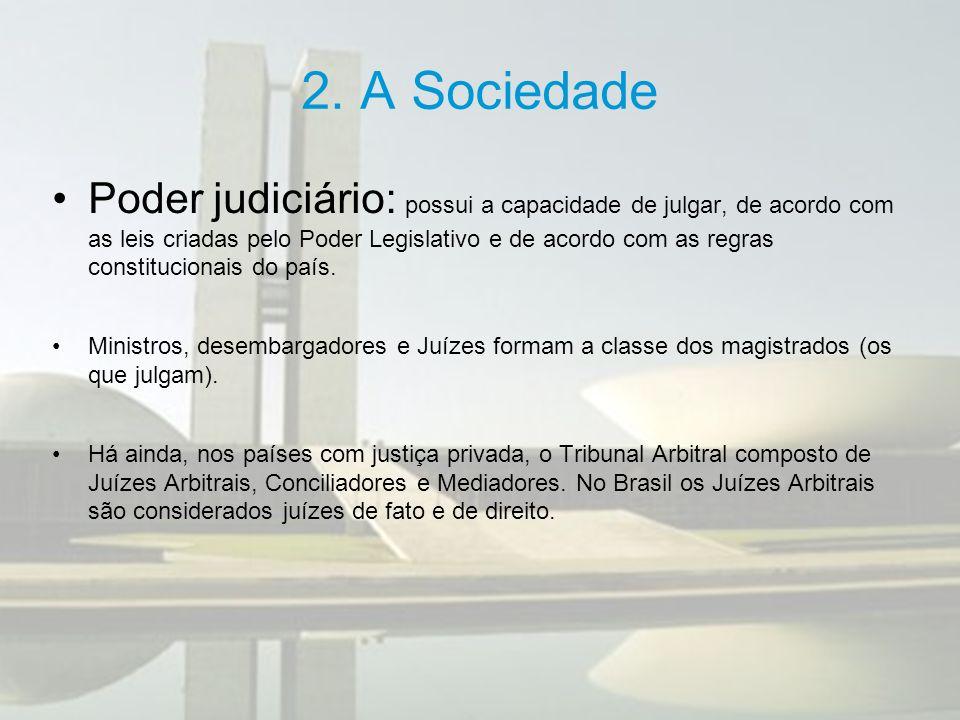 2. A Sociedade Poder judiciário: possui a capacidade de julgar, de acordo com as leis criadas pelo Poder Legislativo e de acordo com as regras constit