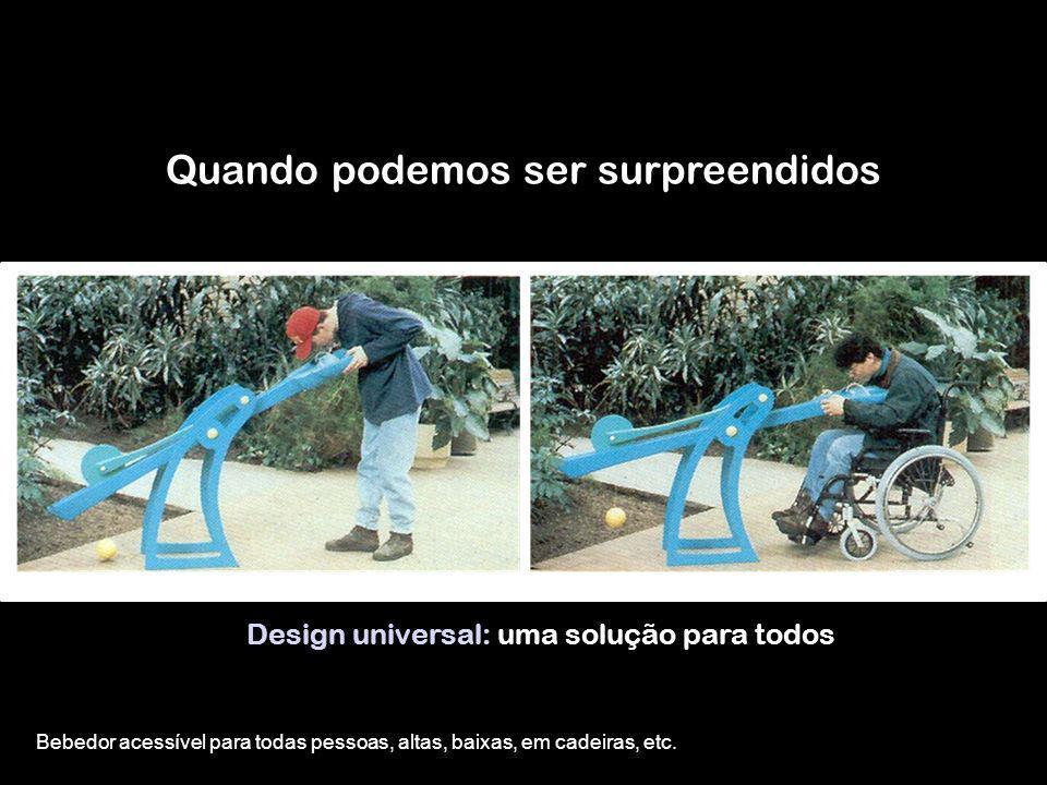 Quando podemos ser surpreendidos Design universal: uma solução para todos Bebedor acessível para todas pessoas, altas, baixas, em cadeiras, etc.