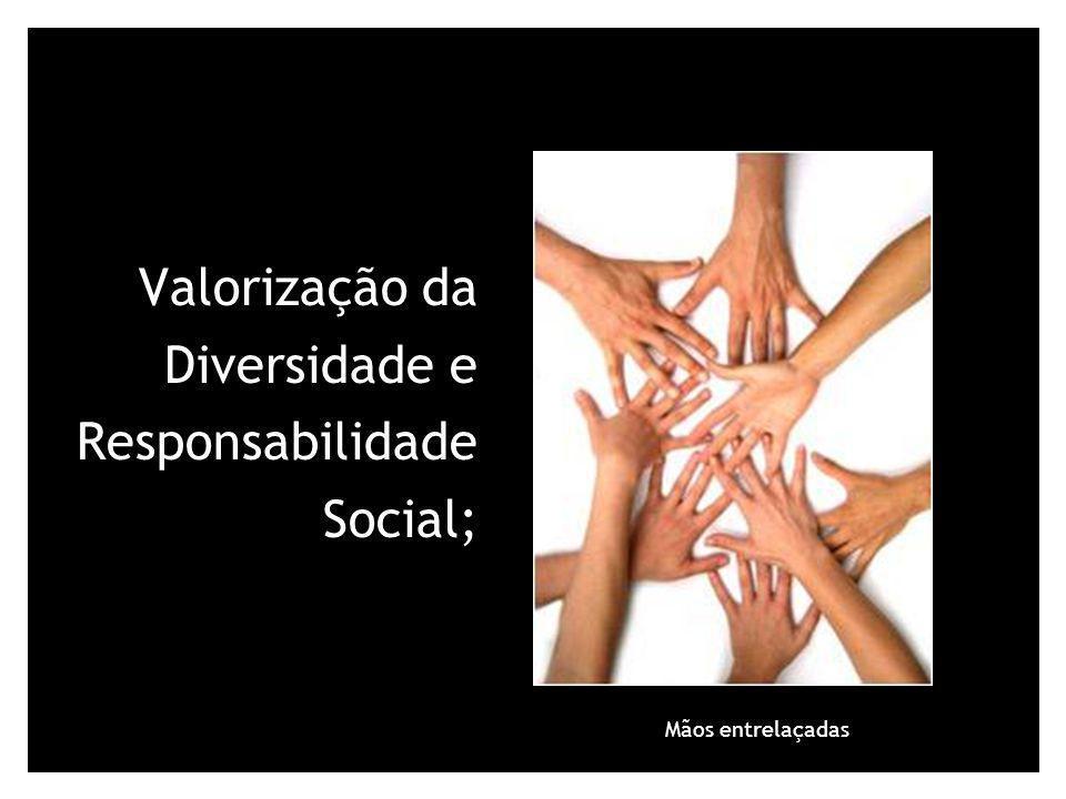 Valorização da Diversidade e Responsabilidade Social; Mãos entrelaçadas