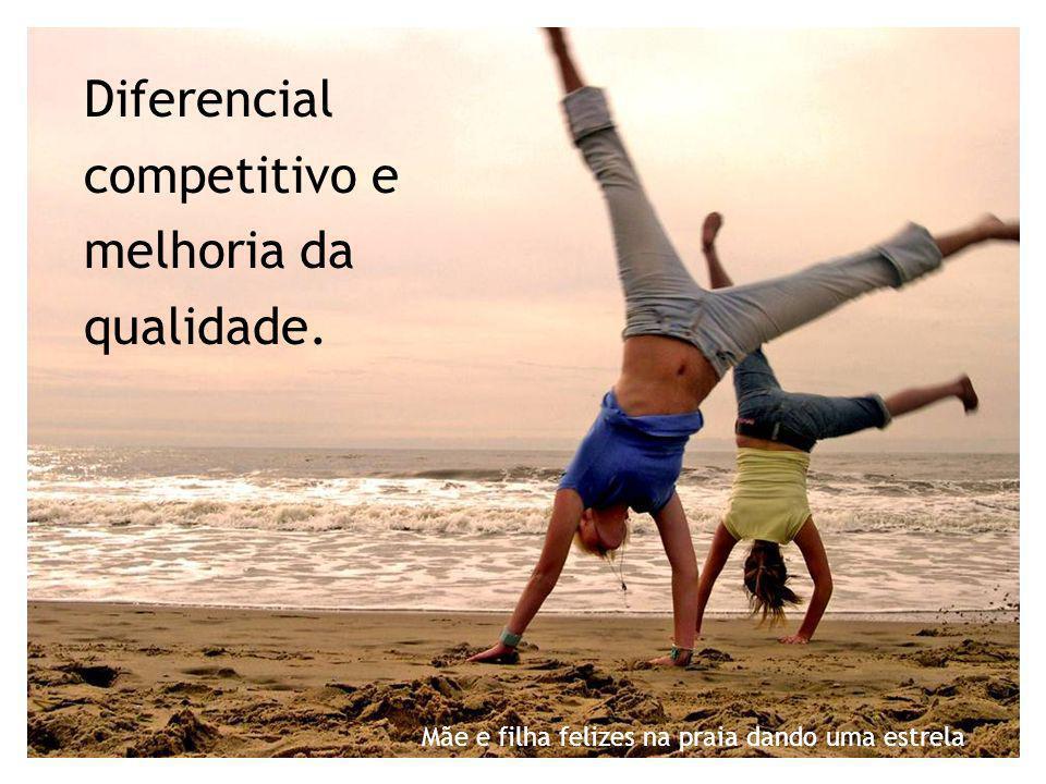 Diferencial competitivo e melhoria da qualidade. Mãe e filha felizes na praia dando uma estrela