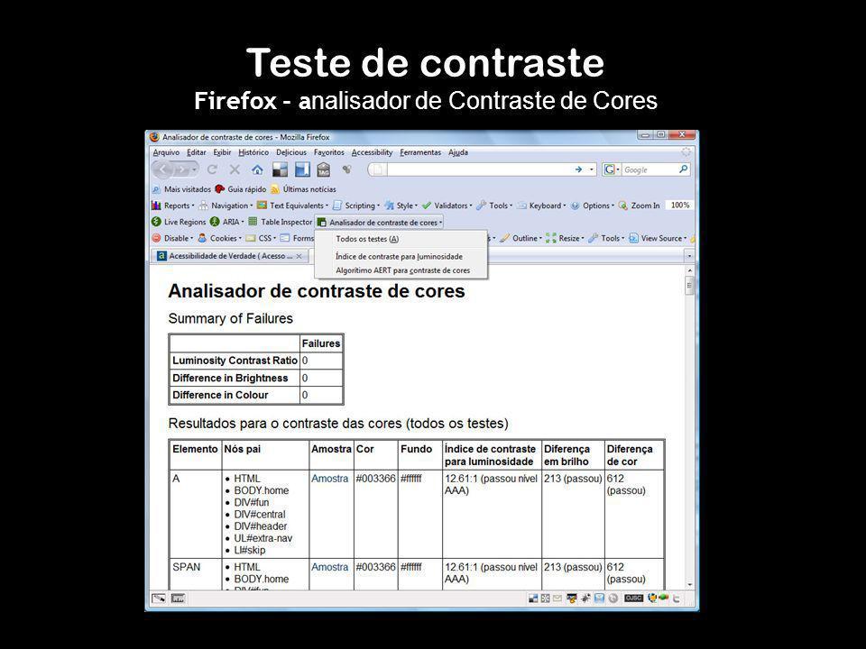 Teste de contraste Firefox - a nalisador de Contraste de Cores