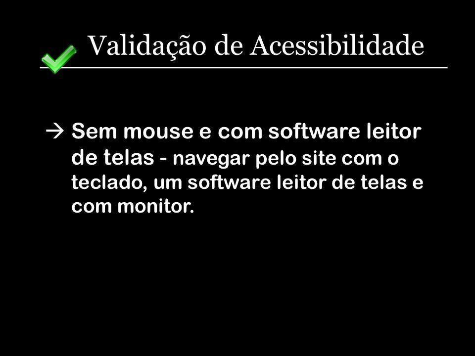 Validação de Acessibilidade Sem mouse e com software leitor de telas - navegar pelo site com o teclado, um software leitor de telas e com monitor.