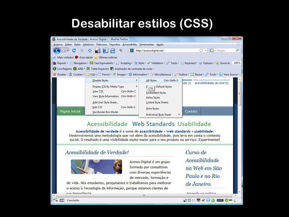 Desabilitar estilos (CSS)