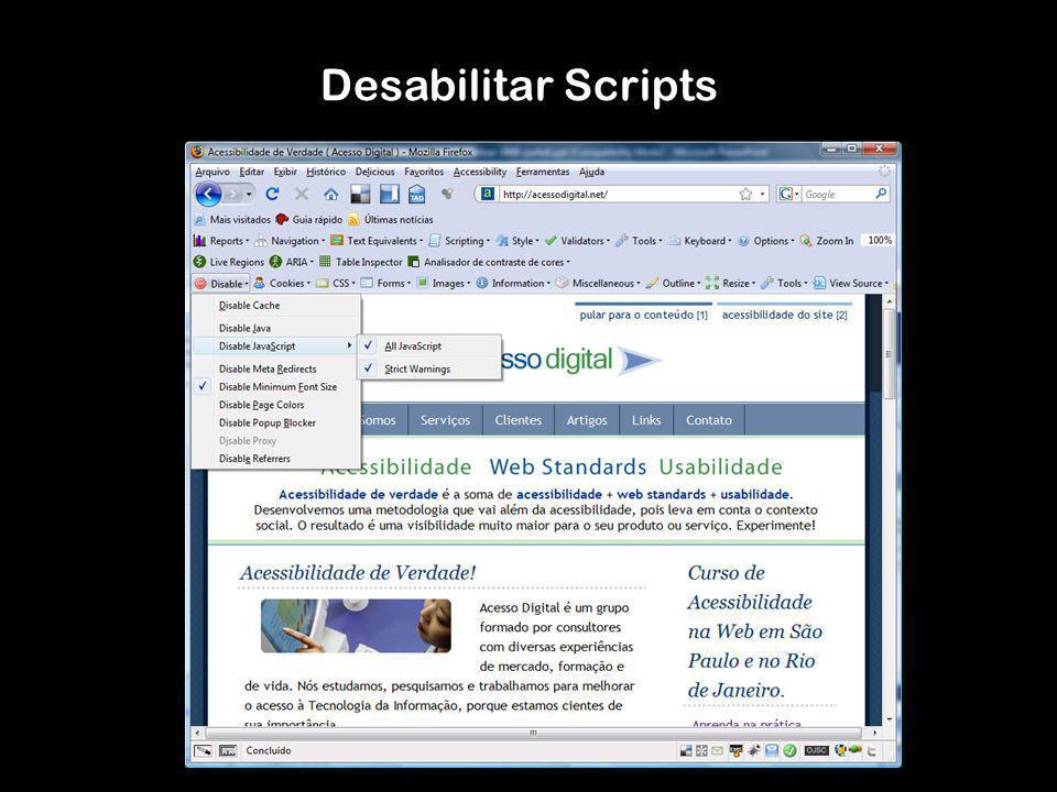 Desabilitar Scripts