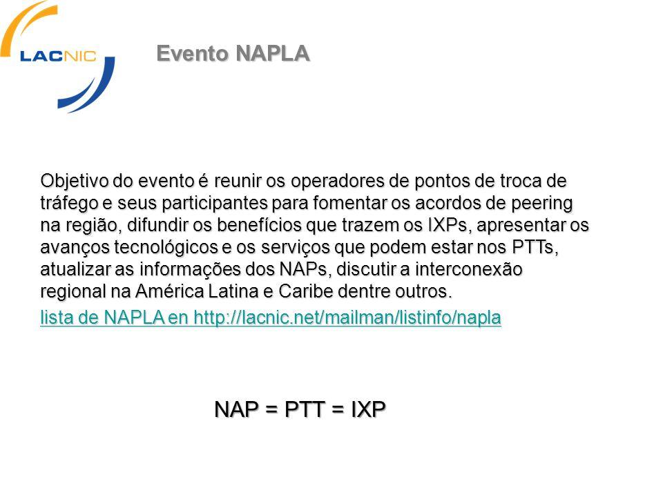 Evento NAPLA NAP = PTT = IXP Objetivo do evento é reunir os operadores de pontos de troca de tráfego e seus participantes para fomentar os acordos de