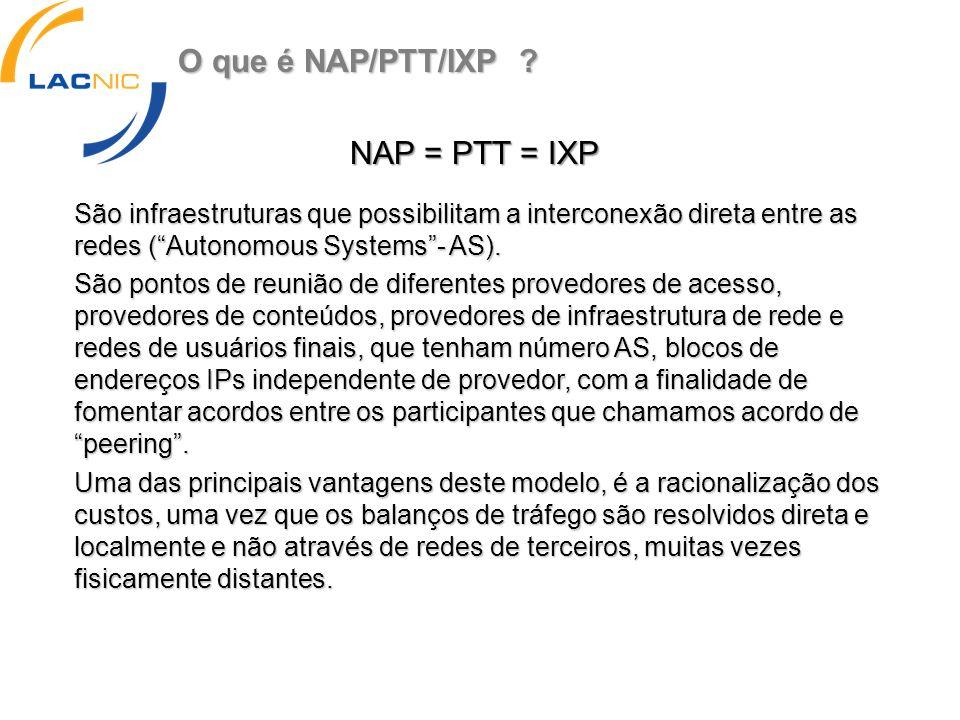 O que é NAP/PTT/IXP ? São infraestruturas que possibilitam a interconexão direta entre as redes (Autonomous Systems- AS). São pontos de reunião de dif