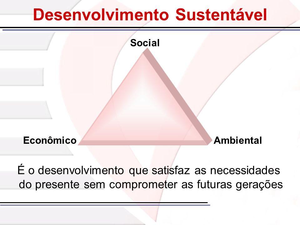 Desenvolvimento Sustentável É o desenvolvimento que satisfaz as necessidades do presente sem comprometer as futuras gerações EconômicoAmbiental Social