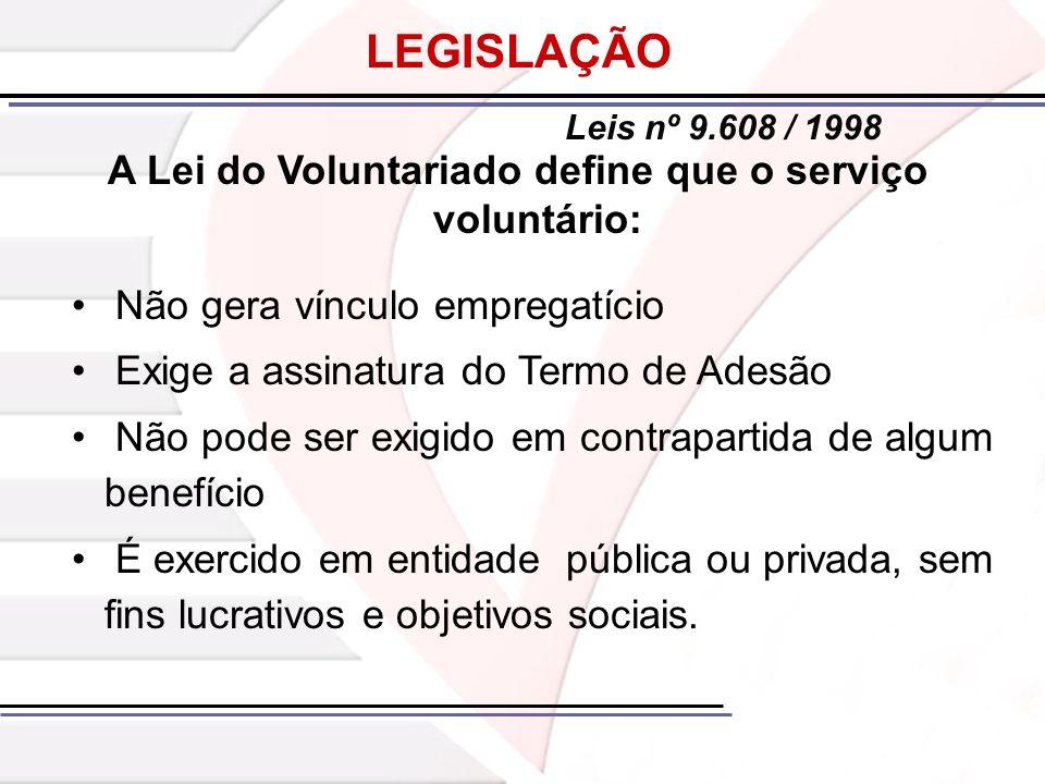 A Lei do Voluntariado define que o serviço voluntário: Não gera vínculo empregatício Exige a assinatura do Termo de Adesão Não pode ser exigido em con