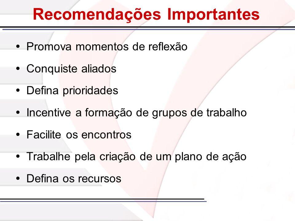 Recomendações Importantes Promova momentos de reflexão Conquiste aliados Defina prioridades Incentive a formação de grupos de trabalho Facilite os enc
