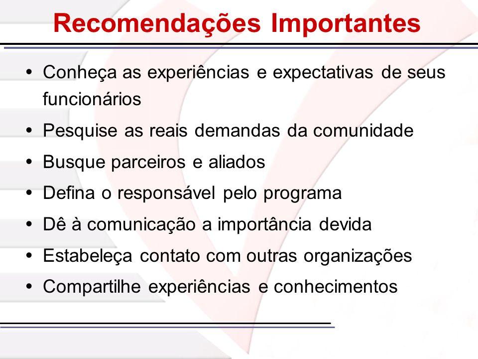 Recomendações Importantes Conheça as experiências e expectativas de seus funcionários Pesquise as reais demandas da comunidade Busque parceiros e alia