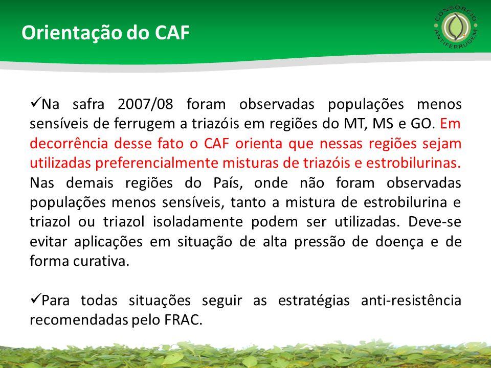 Orientação do CAF Na safra 2007/08 foram observadas populações menos sensíveis de ferrugem a triazóis em regiões do MT, MS e GO. Em decorrência desse