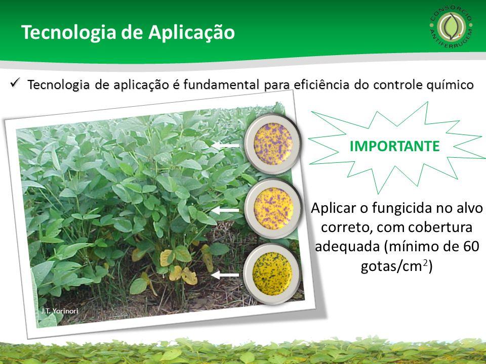 Aplicar o fungicida no alvo correto, com cobertura adequada (mínimo de 60 gotas/cm 2 ) Tecnologia de aplicação é fundamental para eficiência do contro
