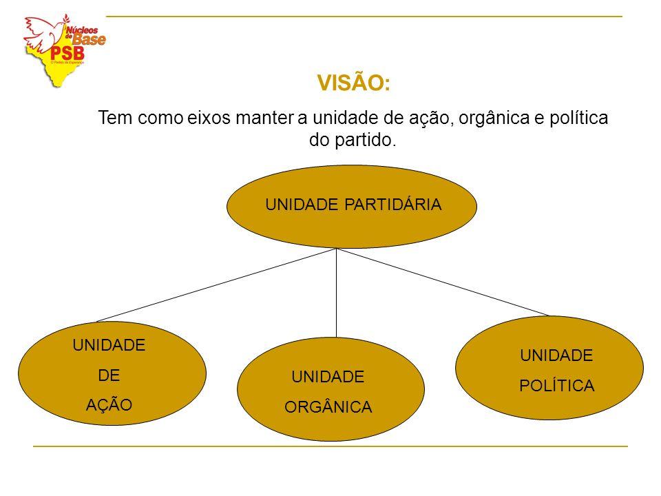 VISÃO: Tem como eixos manter a unidade de ação, orgânica e política do partido. UNIDADE PARTIDÁRIA UNIDADE DE AÇÃO UNIDADE ORGÂNICA UNIDADE POLÍTICA