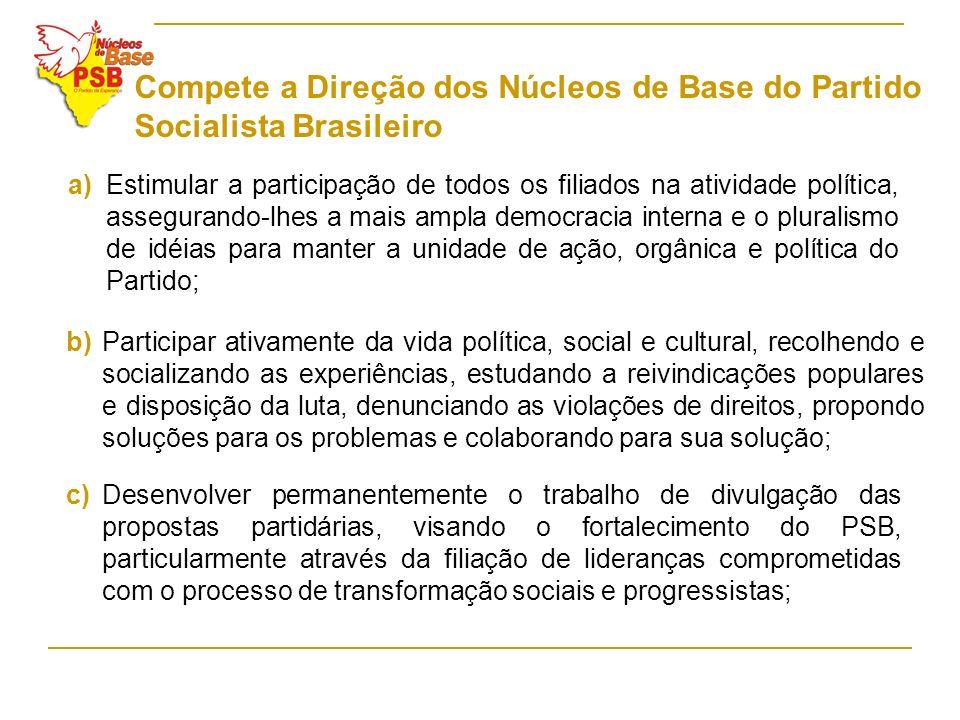 Compete a Direção dos Núcleos de Base do Partido Socialista Brasileiro a)Estimular a participação de todos os filiados na atividade política, assegura