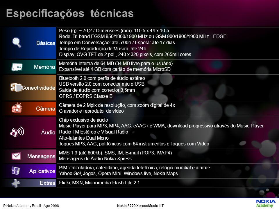 © Nokia Academy Brasil - Ago 2008Nokia 5220 XpressMusic ILT Básicas Peso (g): ~ 70,2 / Dimensões (mm): 110.5 x 44 x 10,5 Rede: Tri-band EGSM 850/1800/