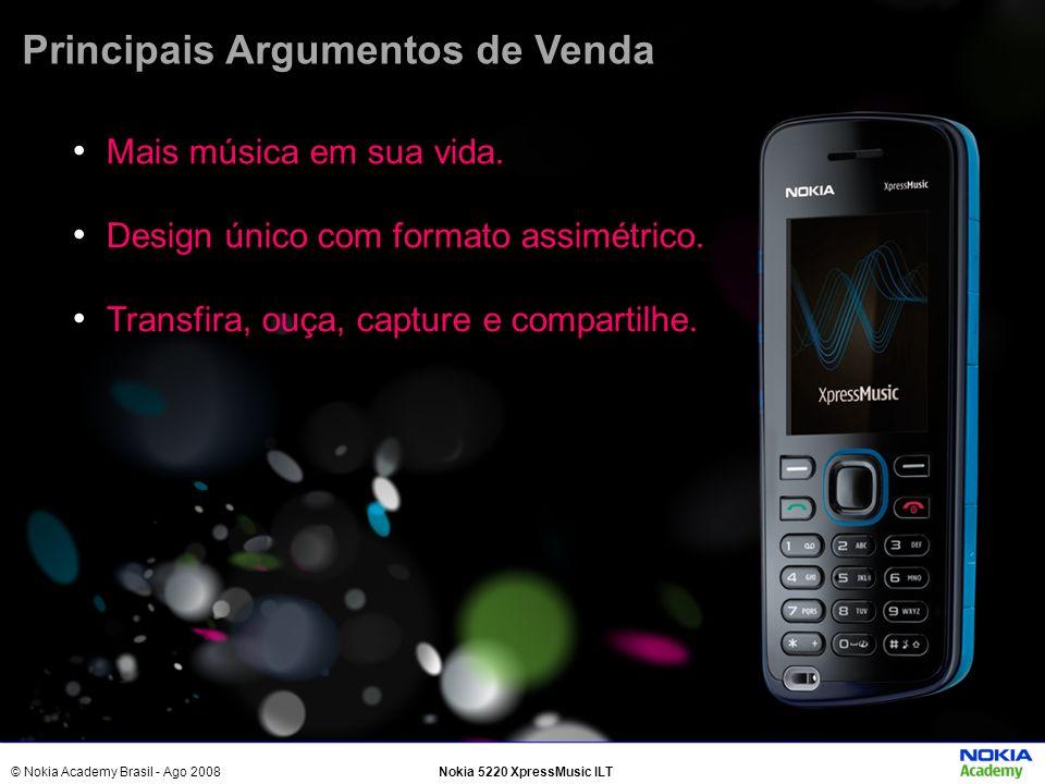 © Nokia Academy Brasil - Ago 2008Nokia 5220 XpressMusic ILT Mais música em sua vida. Design único com formato assimétrico. Transfira, ouça, capture e
