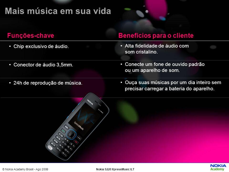 © Nokia Academy Brasil - Ago 2008Nokia 5220 XpressMusic ILT Chip exclusivo de áudio. Conector de áudio 3,5mm. 24h de reprodução de música. Alta fideli