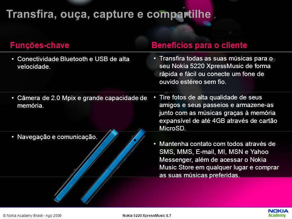 © Nokia Academy Brasil - Ago 2008Nokia 5220 XpressMusic ILT Conectividade Bluetooth e USB de alta velocidade. Câmera de 2.0 Mpix e grande capacidade d