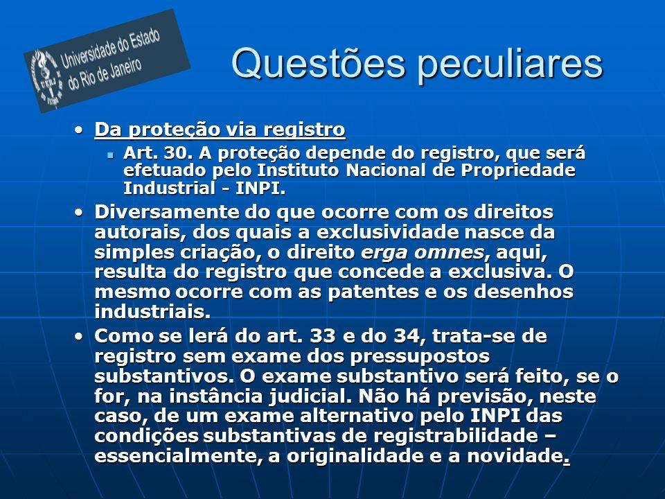 Questões peculiares Da proteção via registroDa proteção via registro Art. 30. A proteção depende do registro, que será efetuado pelo Instituto Naciona