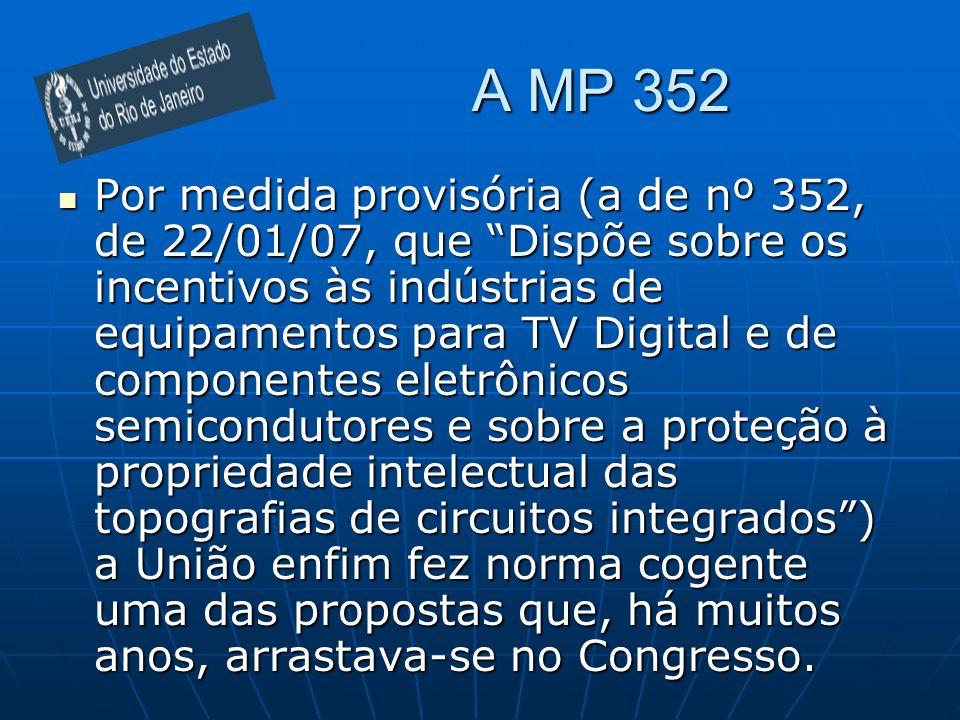 A MP 352 Por medida provisória (a de nº 352, de 22/01/07, que Dispõe sobre os incentivos às indústrias de equipamentos para TV Digital e de componente