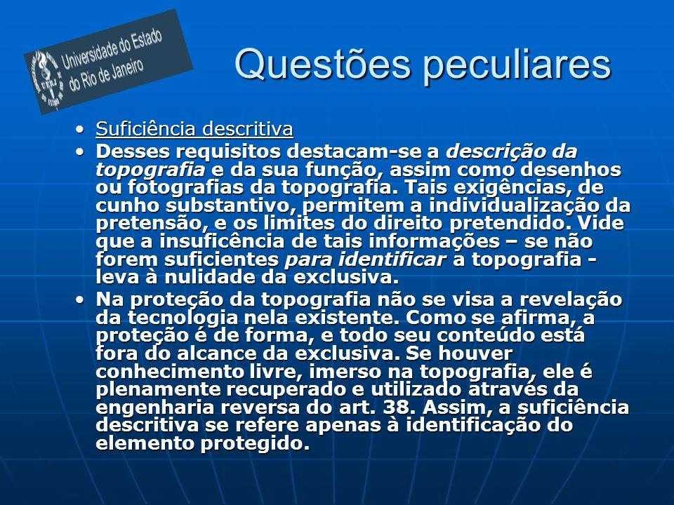 Questões peculiares Suficiência descritivaSuficiência descritiva Desses requisitos destacam-se a descrição da topografia e da sua função, assim como d